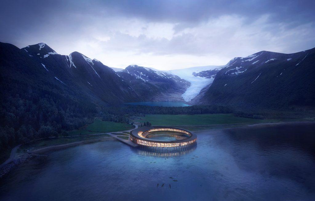 Svart hotel aan het fjord