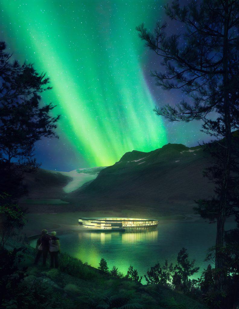 Svart hotel in het Noorderlicht