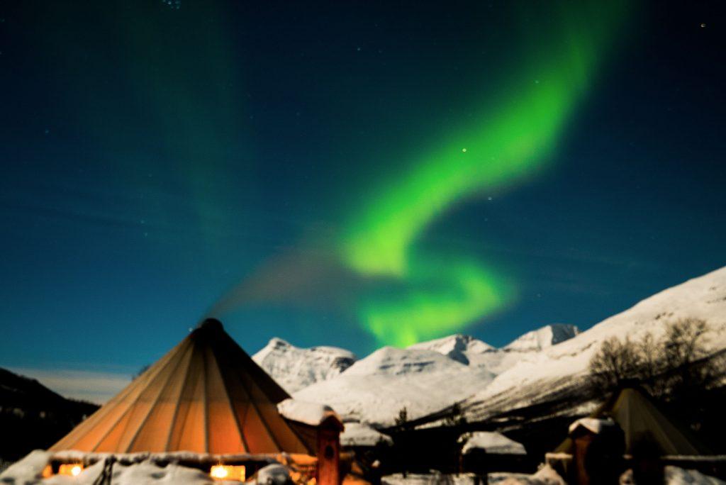 Noorderlicht boven Camp Tamok, Noorwegen
