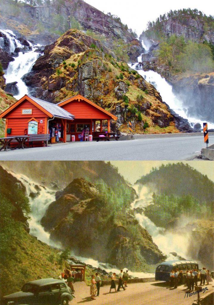 De beroemde Låtefossen waterval in Noorwegen